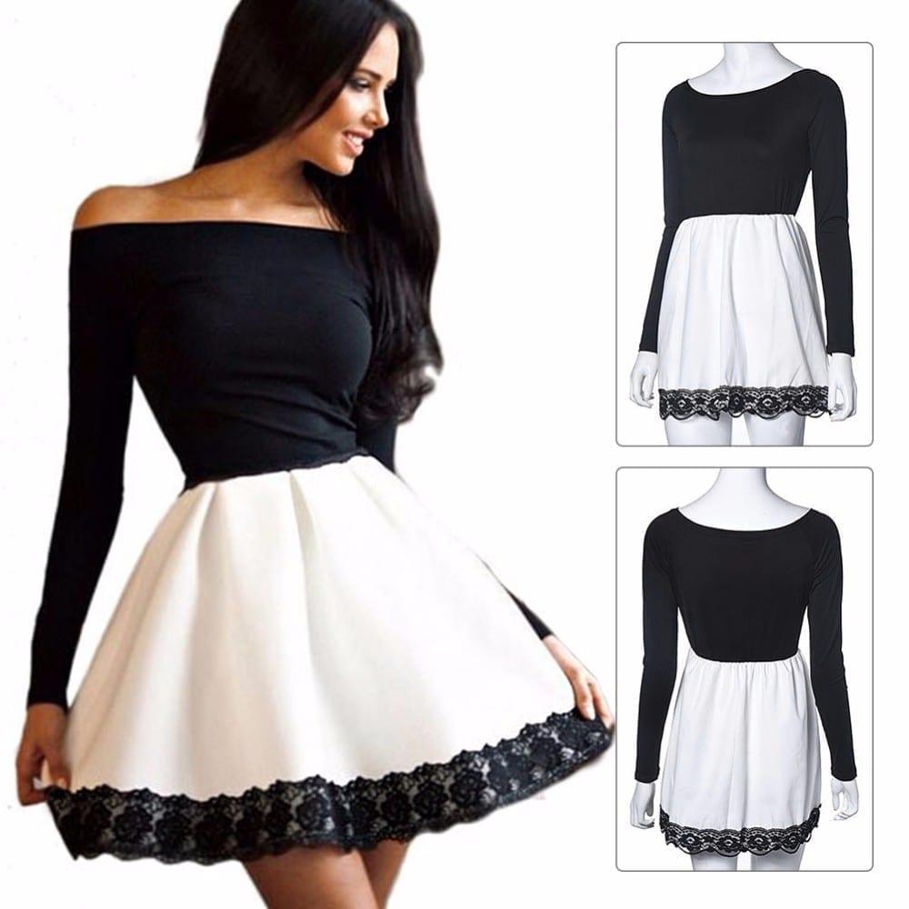 Long Sleeved Lace Patchwork Slash Neck Dress