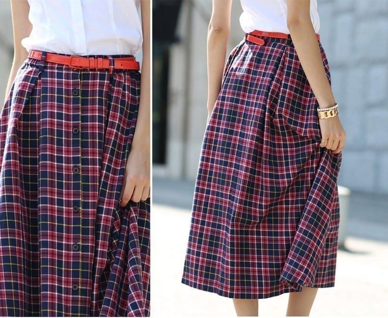 A-line Long Plaid Cotton Skirt