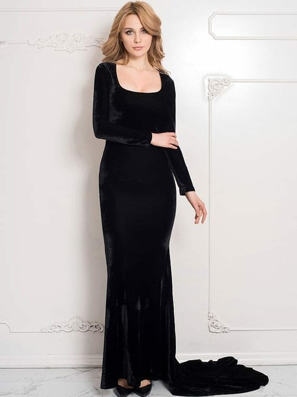 Elegant Back See Through Lace Evening Long Dress Two Style