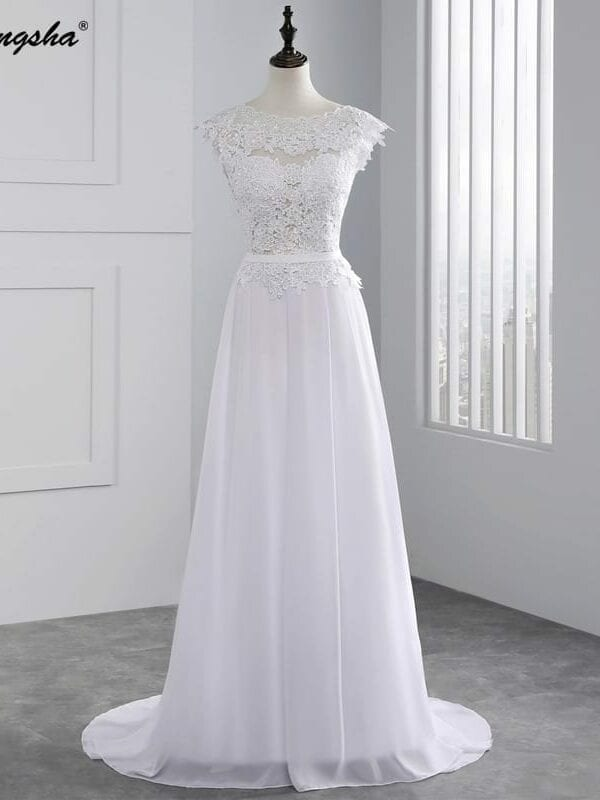 Stunning A Line Cap Sleeve Chiffon Lace Backless Wedding Dress
