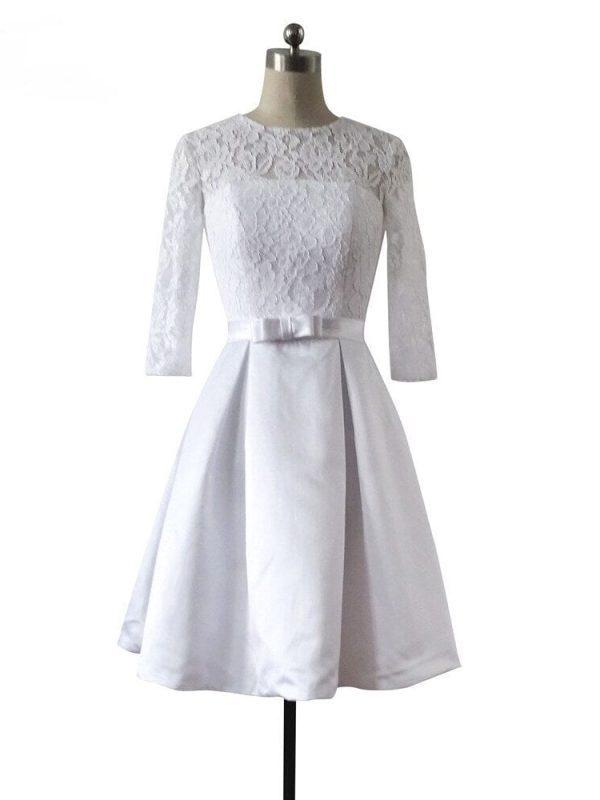 A-line Short Lace Wedding Dress