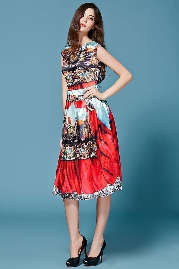 Satin Brocade Noble Printing Dress