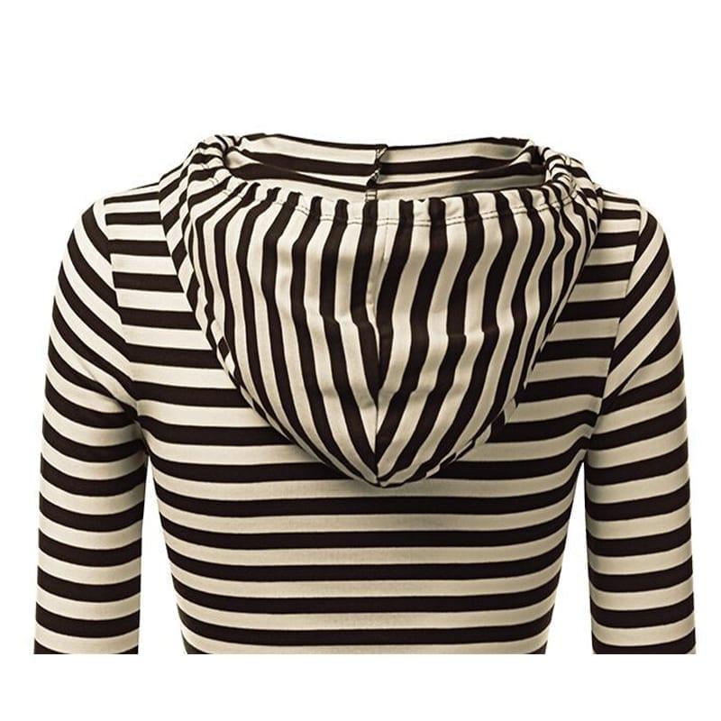Leisure Stripe Splicing With Cap Sleeve Dress