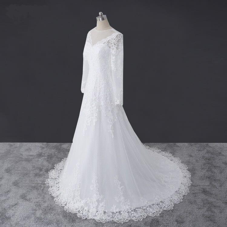 Elegant Lace Long Sleeve A-line Lace Wedding Dress