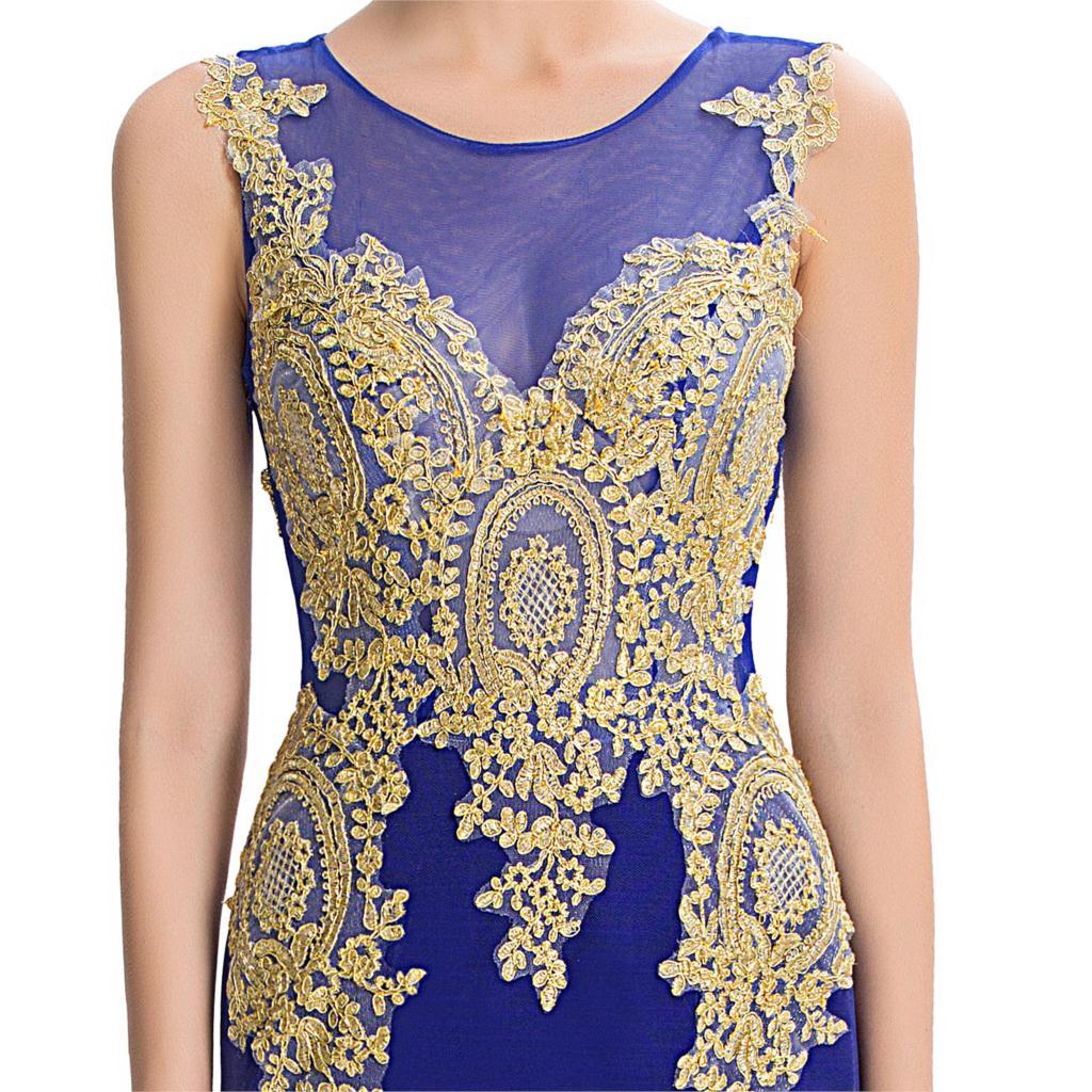Long Mermaid Gold Appliques Evening Dress