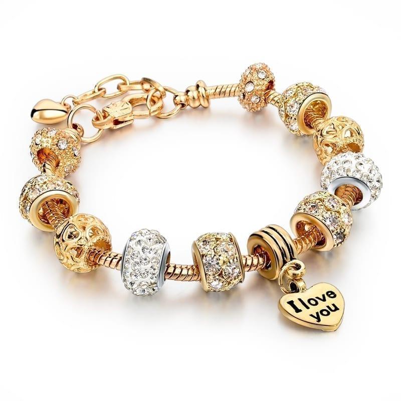 Gold Heart Charm Bracelet