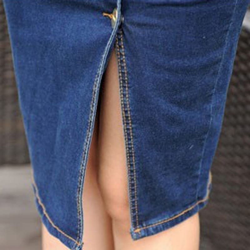 Lady's Buttons Knee Lenght Pencil Denim Skirt