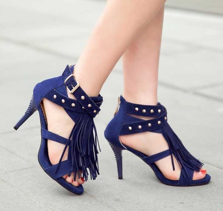 Summer Thin Heel Fringe Sandals