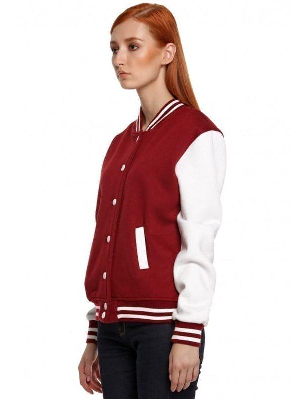 Sleeve Solid Wide Waist Baseball Jacket