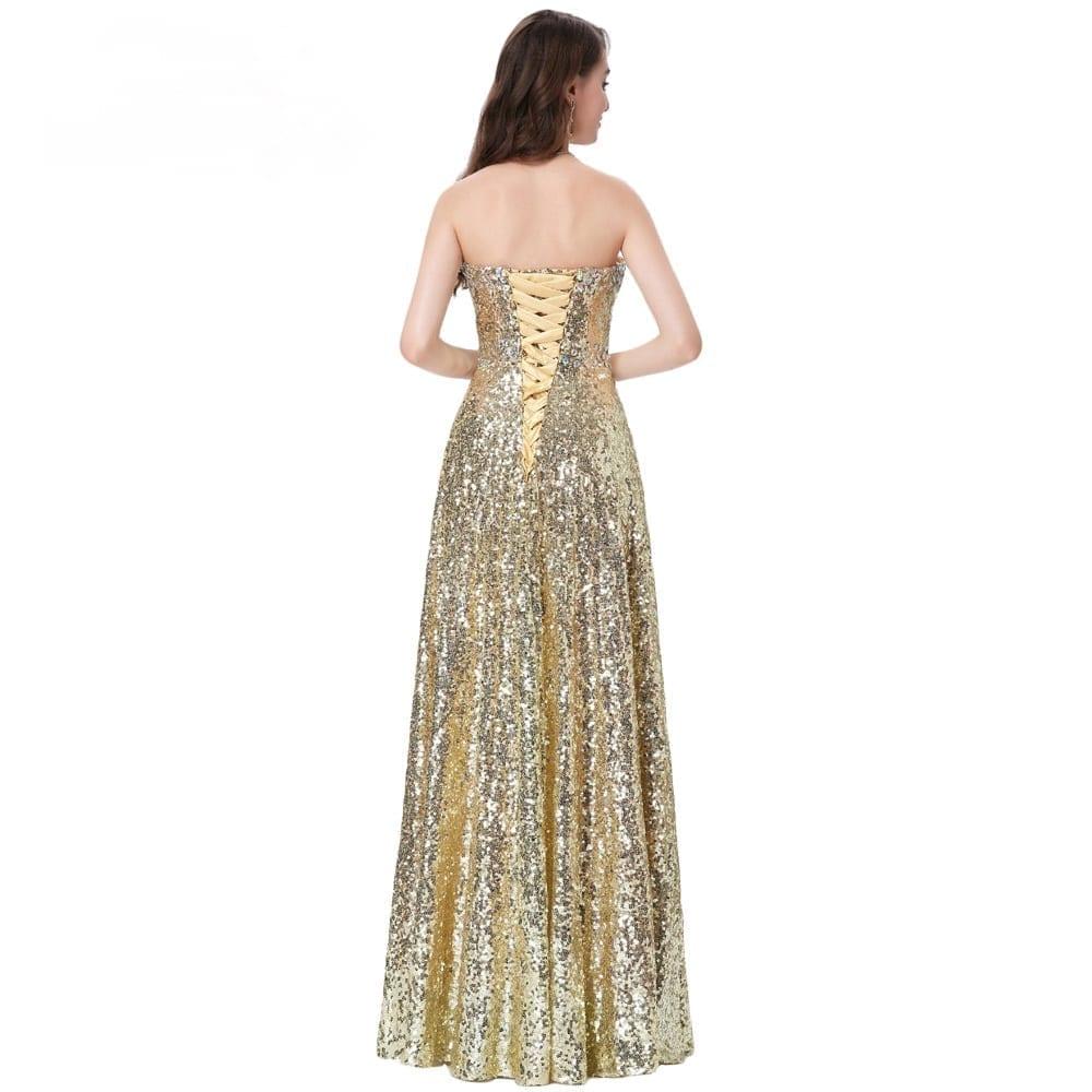 Stunning Long Sequins Gold Evening Dress