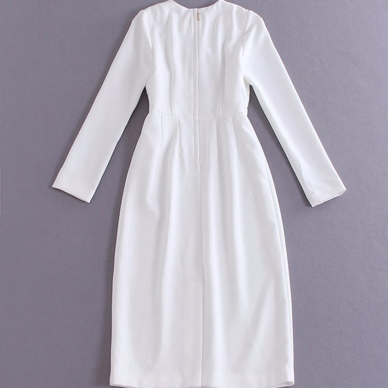 Full Sleeve Slim Elegant Sequin Solid Print Long Dress