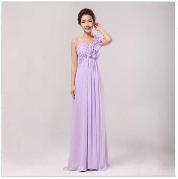 Empire Ruffles One-shoulder Long Bridesmaid Dress