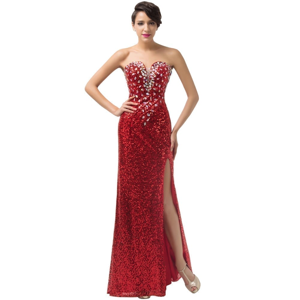 Red Long Crystal Sequins Evening Dress