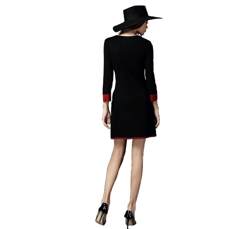 Three Quarter Sleeve Vintage Pockets Ladies Work Bodycon Office Dress