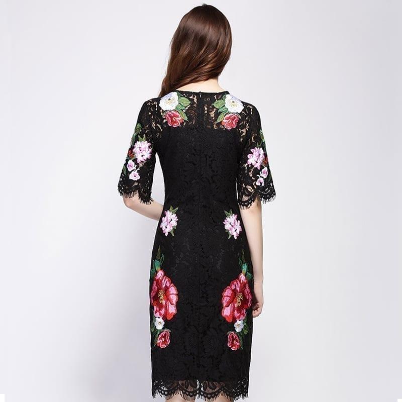 Lace Flowers Embroidery Luxury Short Sleeve Knee-length Black Dress