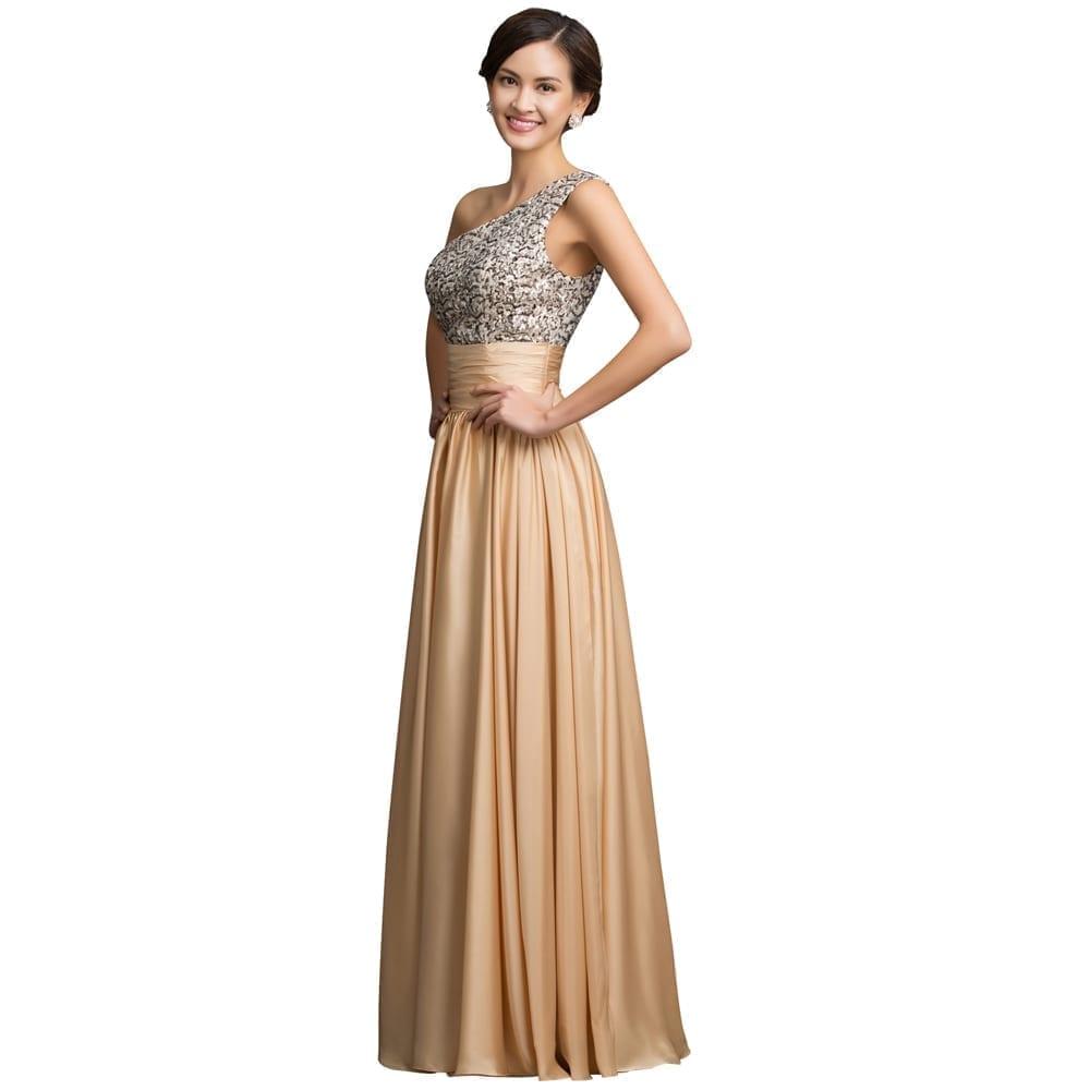 One Shoulder Sequins Long Evening Dress