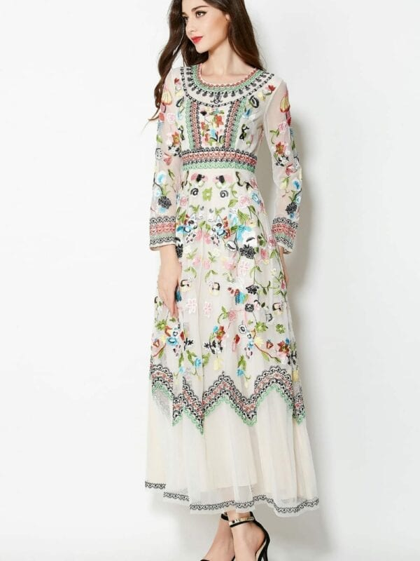 Embroidery Flowers Long Sleeve Ankle-length Dress