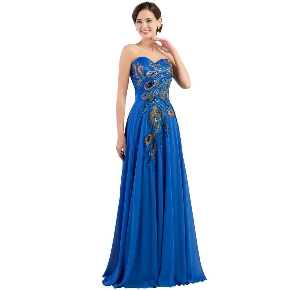 Elegant Long Peacock A-line Chiffon Bridesmaid Dress