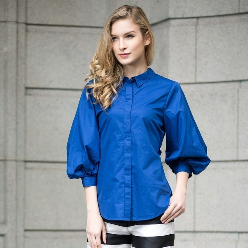 Vintage Lantern Sleeve Cotton Shirt