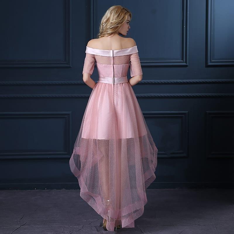 Pink Slit Neckline Low-high Bridesmaid Dress
