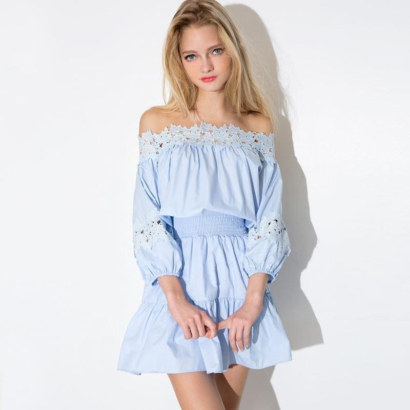 Patchwork Lace Long Sleeve A-line Mini Dress