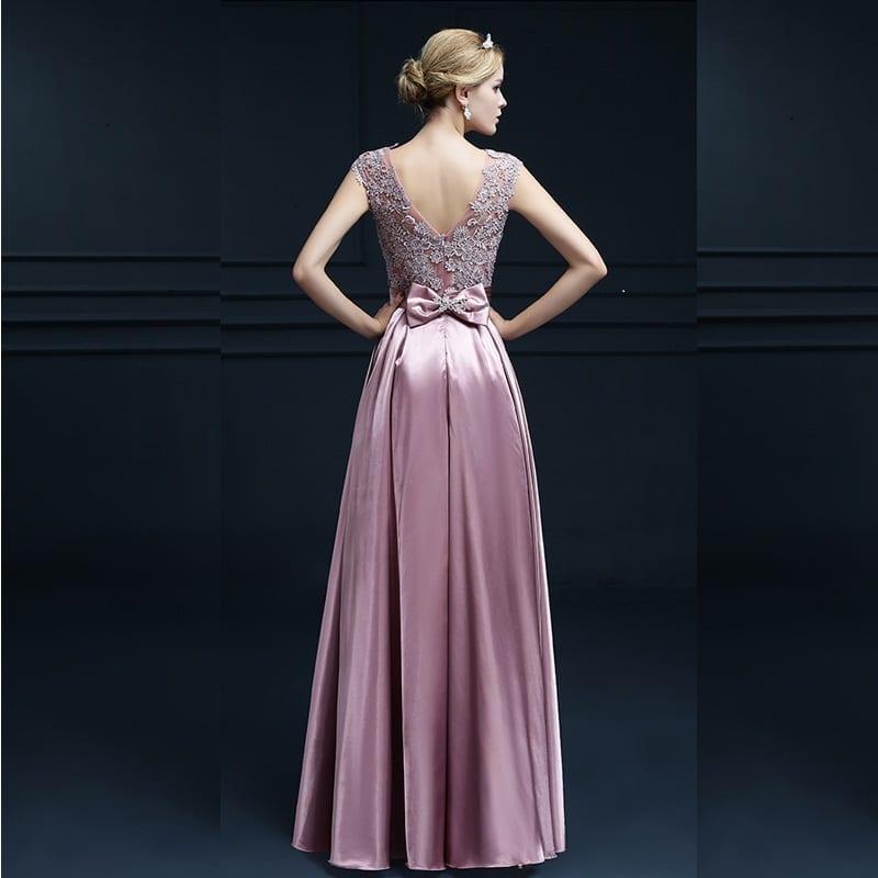Embroidery Shoulder Straps Satin Long Evening Dress
