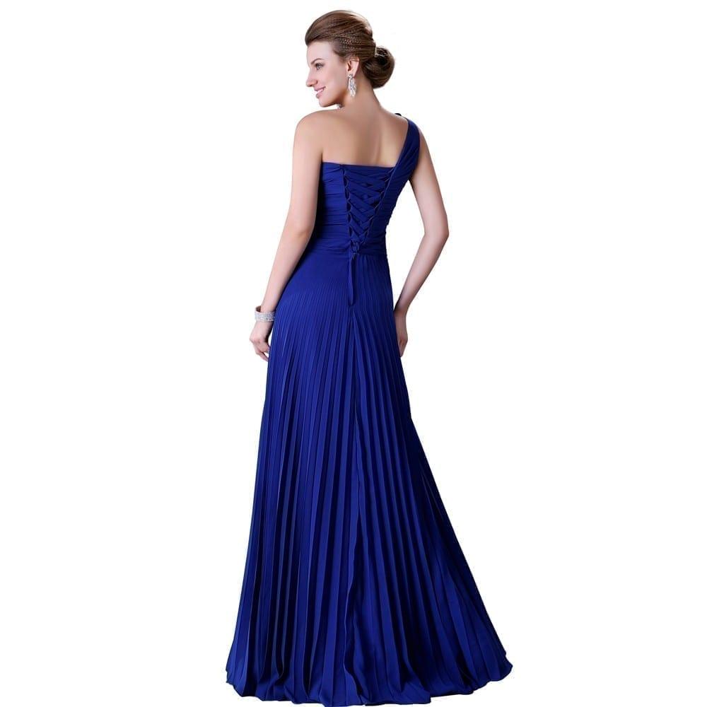 One Shoulder Pleated Long Chiffon Evening Dress