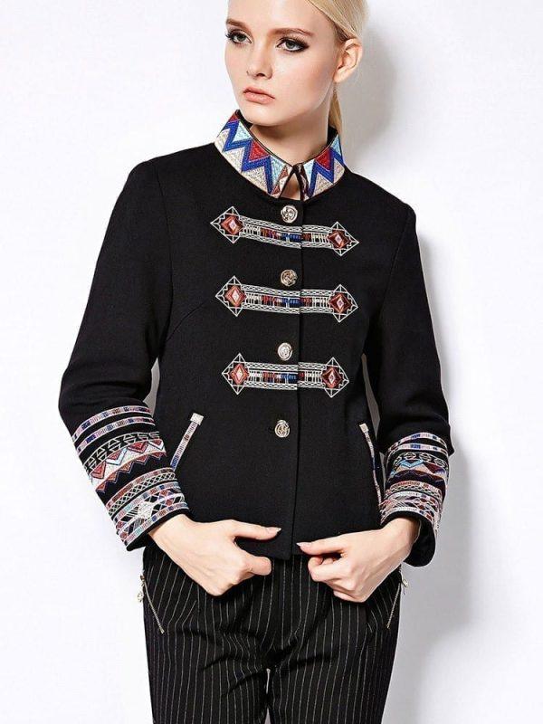 Full Sleeve Geometric Flower Emboidery Turtleneck Jacket