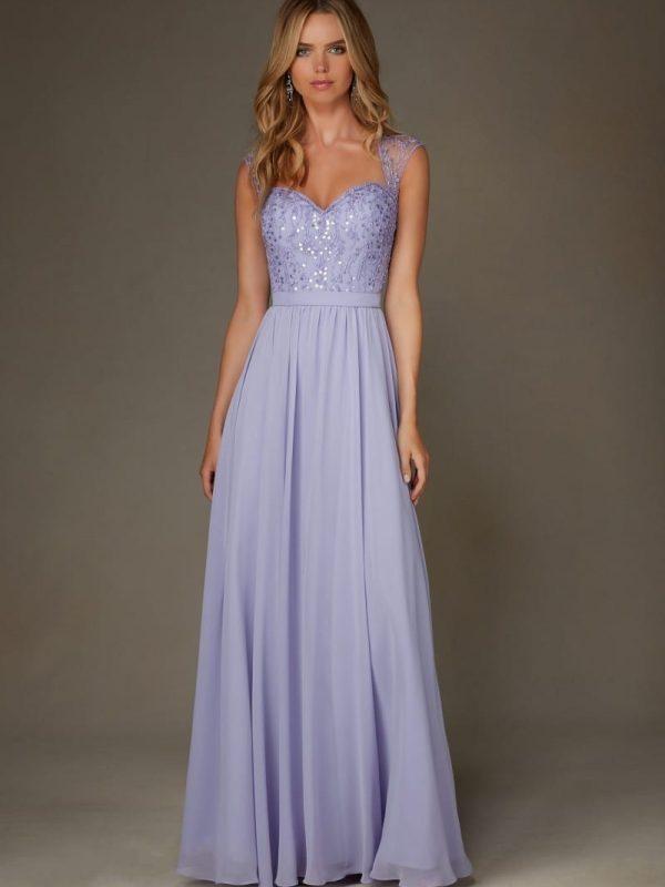 Sparkly Light Purple Lilac Open Back Cap Sleeves Chiffon Bridesmaid Dress