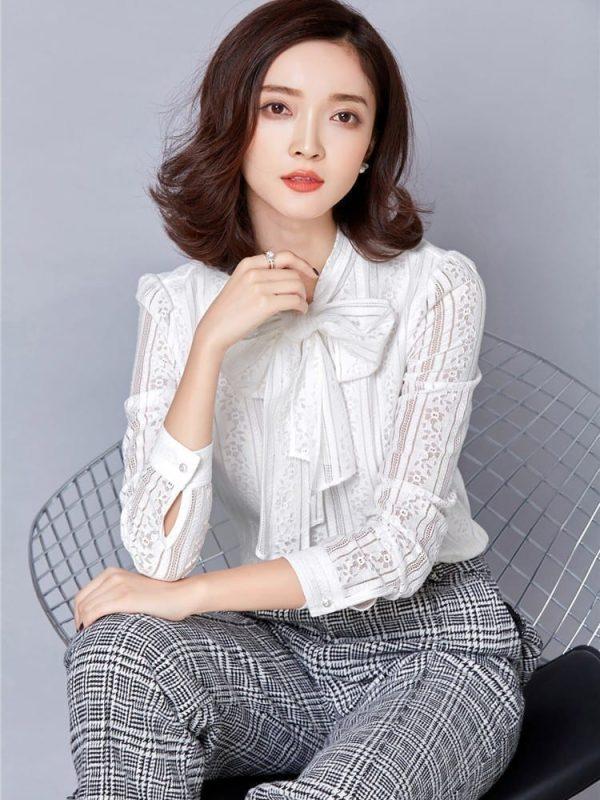 Elegant Crochet Long Sleeve Lace Shirt