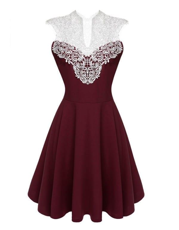 Sleeveless Lace Patchwork High Waist Pleated Knee Length Dress
