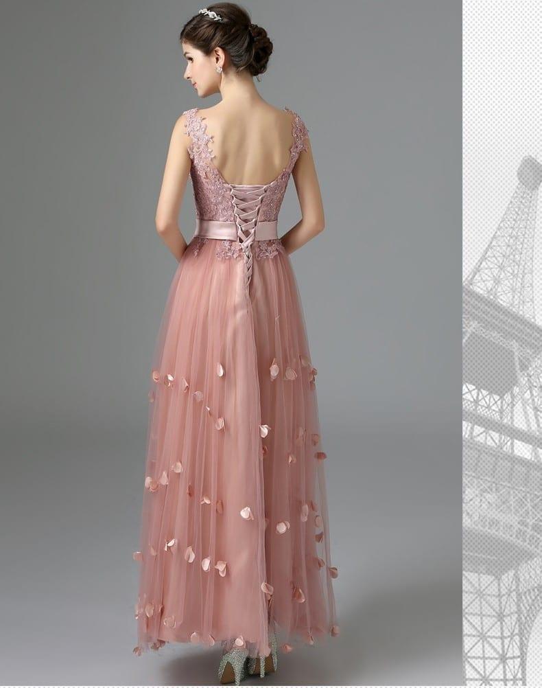 A-line Flowers Lace-up Evening Dress