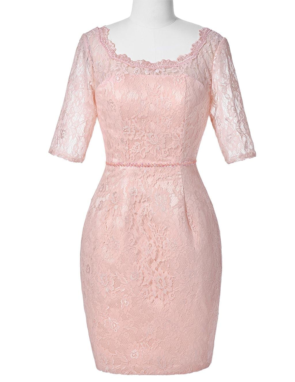 Pink Knee Length Half Sleeve Lace Mother Of The Bride Dress With Jacket