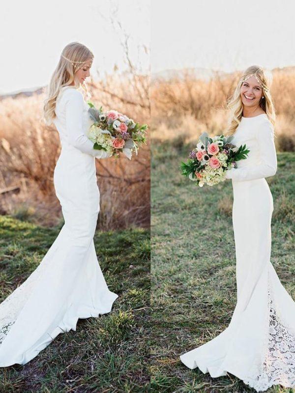 Long Sleeve Vintage Chapel Train Mermaid Lace Boho Wedding Dress