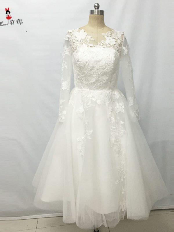 Elegant Ivory Lace Long Sleeves Tea Length Wedding Dress