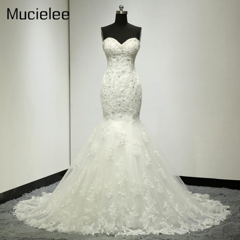 Lace Applique Crystal Beading Mermaid Wedding Dress