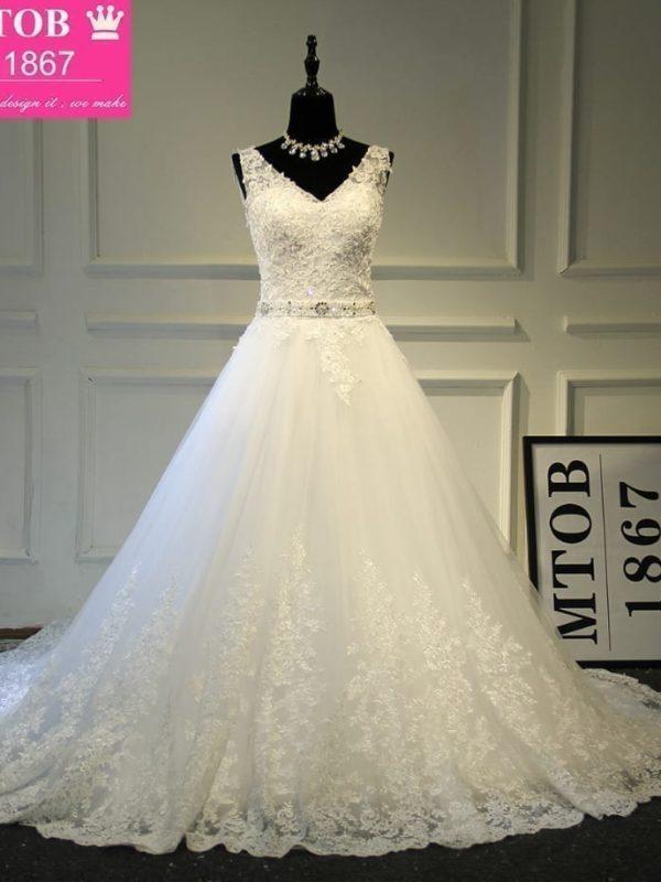A-line V-neck Backless Organza Beading Lace Wedding Dress