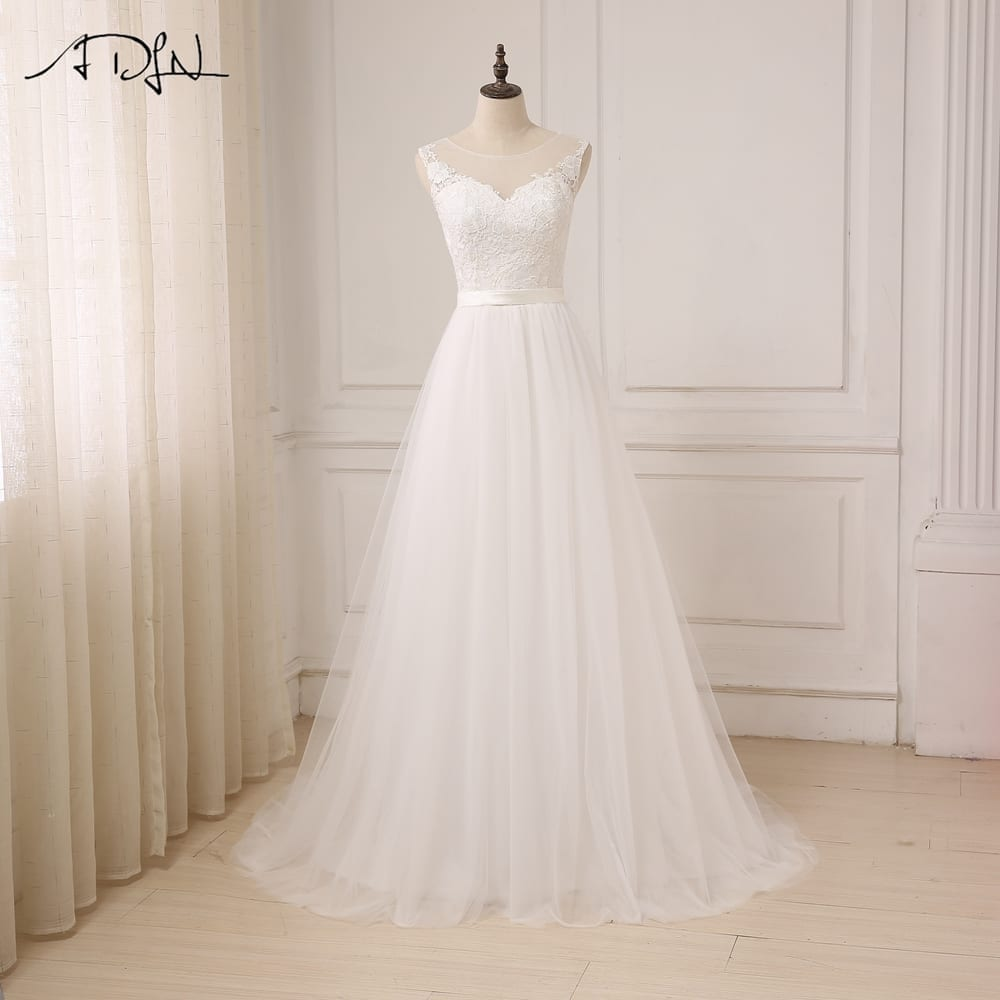 O-neck Floor Length Appliques Tulle Lace Boho Wedding Dress