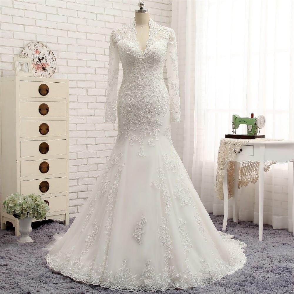 Long Sleeve V-neck Lace Mermaid Wedding Dress