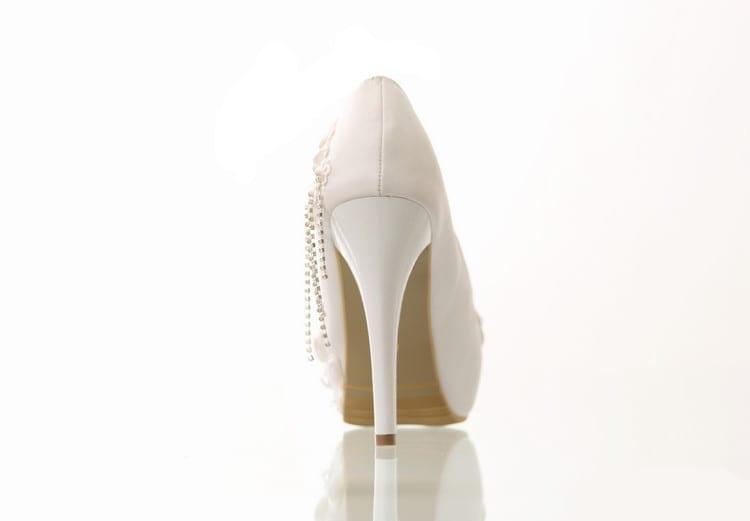 White Lace Flower Non-slip High-heeled Platform Wedding Shoes