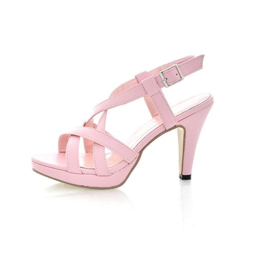 High Heel Cut Outs Buckle Leather Sandals