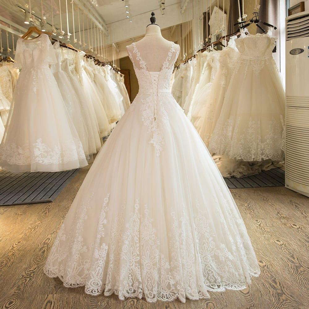 Appliqued Lace Tulle Princess Wedding Dress