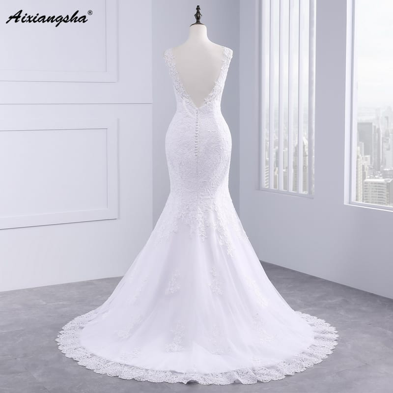 Beautiful Applique Long Mermaid Wedding Dress