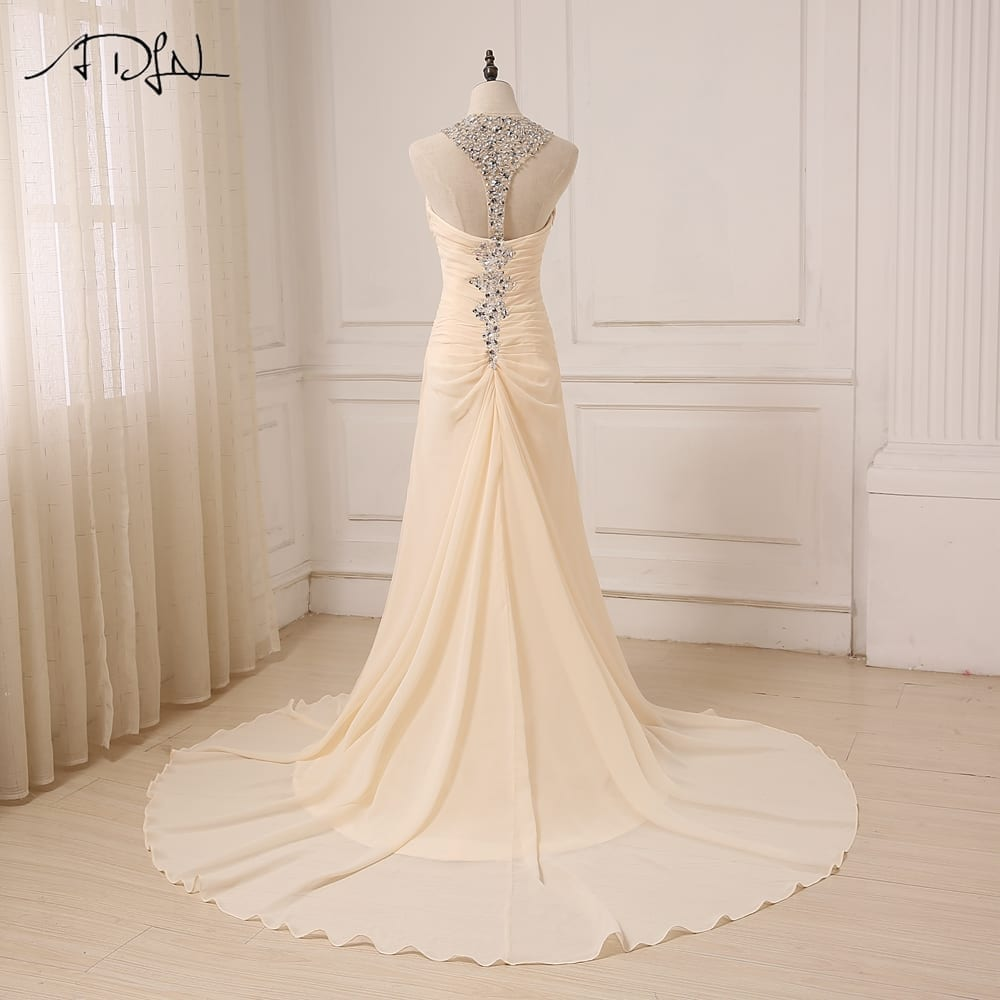 Champagne Sleeveless Halter Backless Sweep Train Chiffon Crystal Wedding Dress