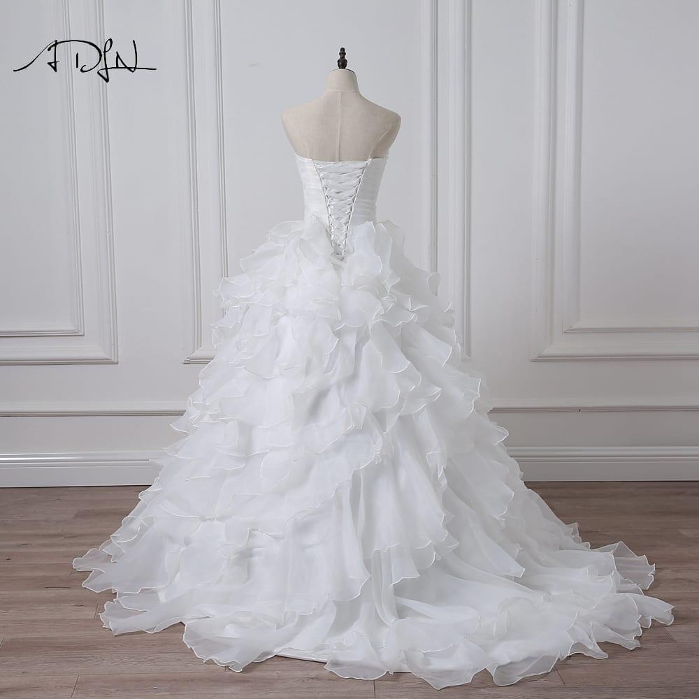 Ivory White Beading Ruffles Organza Wedding Dress