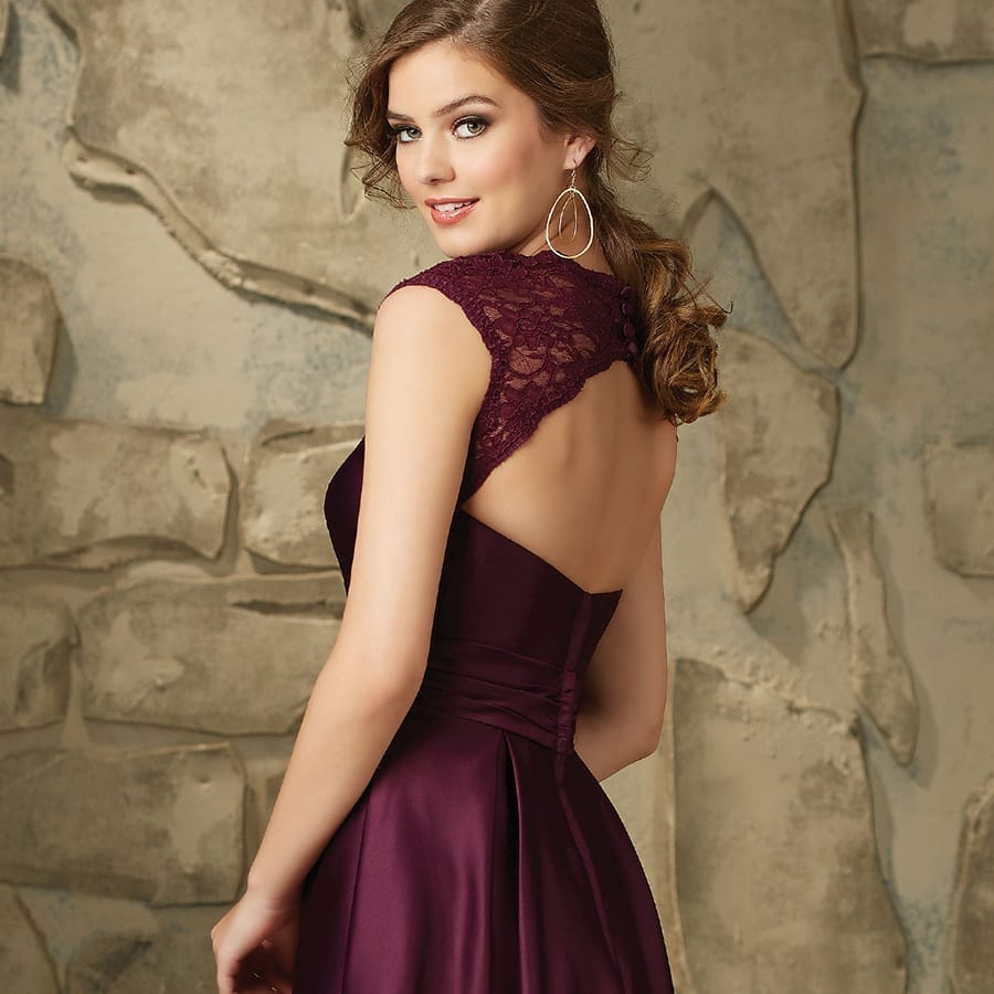 A-line Satin Lace Cap Sleeves Bridesmaid Dress