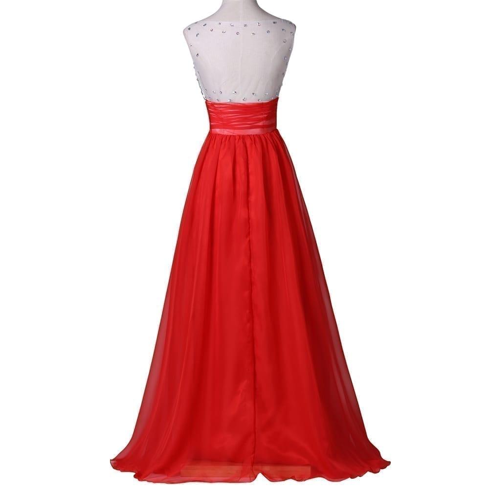 Elegant Red Crystal Beaded Long Evening Dresses