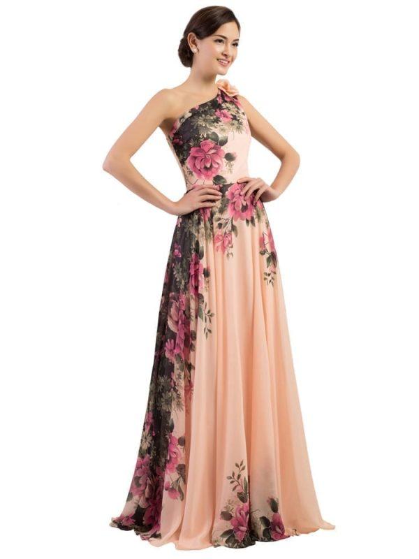 One Shoulder Long Printed Flower Evening Bridesmaid Dress