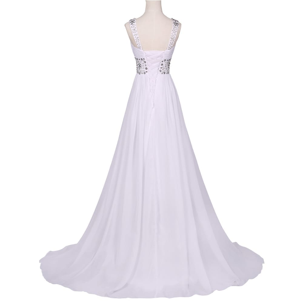 Floor Length White Crystal Beach Wedding Dress
