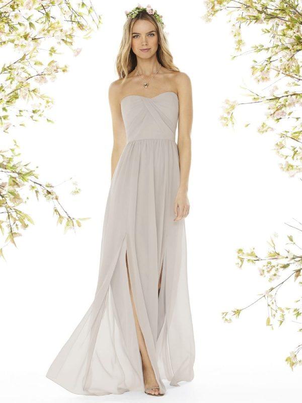 Double Slit Side Gray Chiffon A-line Bridesmaid Dress
